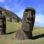 Giant moai heads on Easter Island