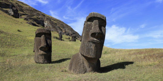 Giant moai heads on Easter Island